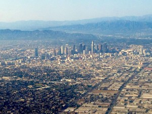 Flying into the city of angels